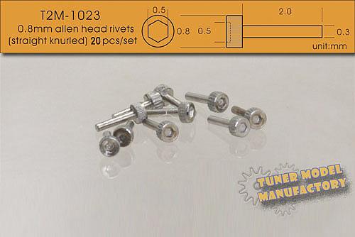 20pcs T2m-1038 T2m 0.9mm Tapered Type Allen Head Rivets